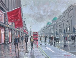 Regent Street Bustle by Charles Rowbotham - Original Painting on Board sized 12x9 inches. Available from Whitewall Galleries